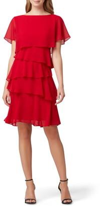 Tahari Tiered Chiffon Dress