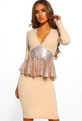 f84864ed2b546 Pink Boutique Midnight Hour Stone Sequin Peplum Long Sleeve Midi Dress