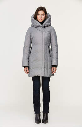 Soia & Kyo CAMELIA slim-fit brushed down coat with leather trims
