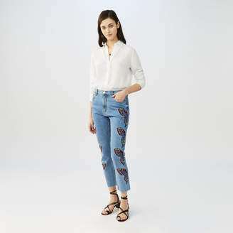 Maje Straight cut jeans with embroidery