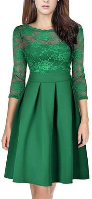 Là Vestmon Women's 50s Vintage Sexy See-Through Lace up 3/4 Sleeve Backless Evening Party Dress