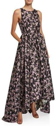 Zac Posen Wildflower Jacquard High-Low Gown