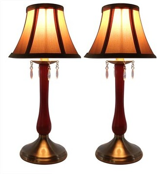 Perlina Urbanest Urbanest Set Of 2 Accent Lamps, Antique Brass Base With Gold Lamp Shade & Crystal Accents Urbanest