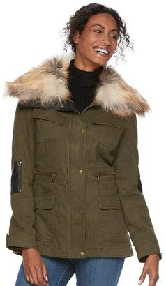 Apt. 9 Women's Faux Fur Faux-Leather Accent Parka