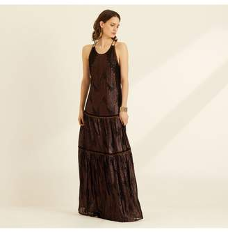 Amanda Wakeley Embellished Sleeveless Maxi Bronze Dress