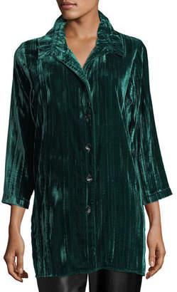 Caroline Rose Long Crinkled Velvet Shirt, Petite