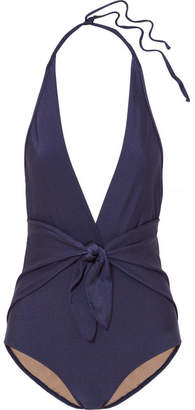 Adriana Degreas - Knotted Halterneck Swimsuit - Midnight blue