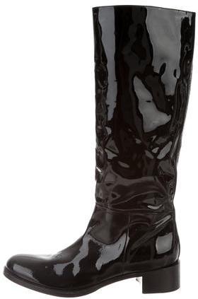 pradaPrada Patent Knee-High Boots