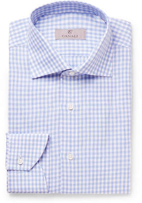 Canali Slim-Fit Cutaway-Collar Checked Linen Shirt