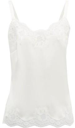 Dolce & Gabbana Eyelash Lace Trim Silk Blend Pyjama Top - Womens - White