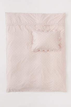 H&M Scalloped-edge Duvet Cover Set - Pink