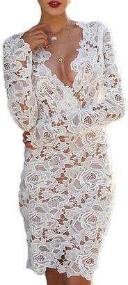 Yacun Womens Lace Bridesmaid Dress Hollow Long Sleeve Party Dresses White M