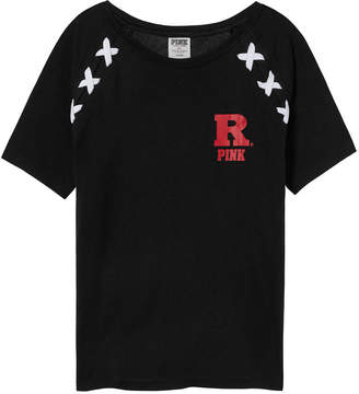 PINK Rutgers University Crop Lace-Up Raglan Sleeve Tee