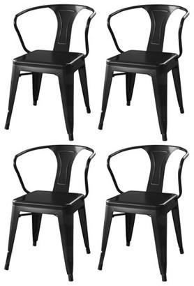LOFT AmeriHome Glossy Black Metal Dining Chairs - 4 Piece