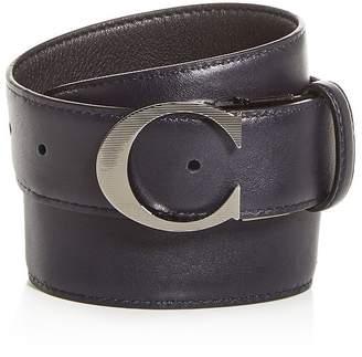 Canali Logo Buckle Reversible Leather Belt