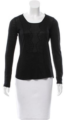 Sandro Lace-Accented Linen Top $65 thestylecure.com