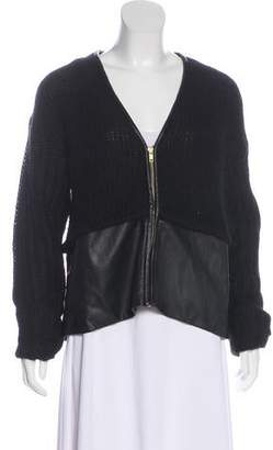 By Malene Birger Faux-Leather Zip Up Cardigan