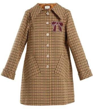 Gucci Bow Applique Single Breasted Checked Coat - Womens - Brown Multi