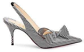 Christian Louboutin Women's Clare Bow 80 Stripe Patent Leather Slingback Pumps
