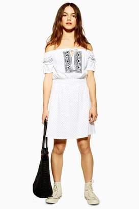 Topshop PETITE Embroidered Bardot Mini Dress