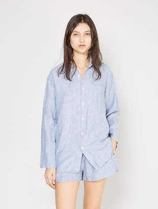 IN BED Linen Long Sleeve Pyjama Shirt - Blue Weave