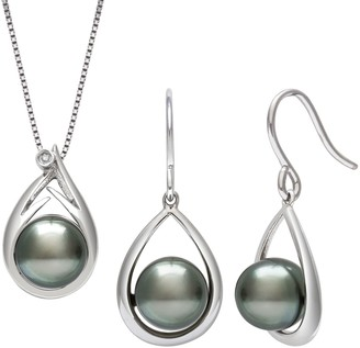 Unbranded Sterling Silver Cultured Tahitian Pearl Earrings & Diamond Accent Pendant Necklace Set