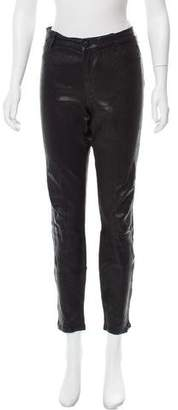 J Brand Leather Mid-Rise Pants