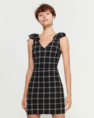 Necessary Objects Black & White Plaid Bow Shoulder Mini Dress