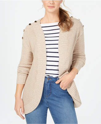 Charter Club Curved-Hem Button-Trim Cardigan Sweater
