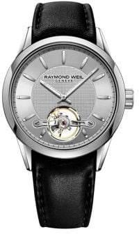 Raymond Weil Freelancer Leather-Strap Watch
