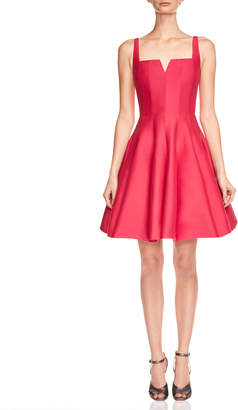 Halston Sleeveless Geo-Neck Faille Cocktail Dress