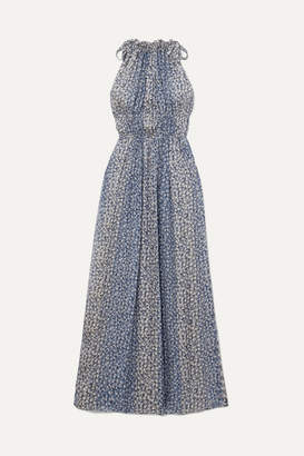 Ulla Johnson Augustine Floral-print Plissé Silk-blend Gauze Maxi Dress - Blue