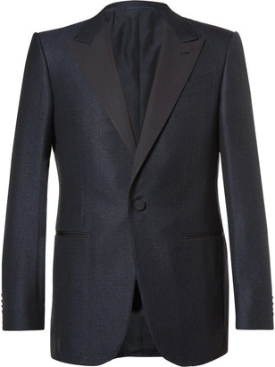 Ermenegildo Zegna Blue Slim-Fit Prince of Wales Checked Wool and Cotton-Blend Tuxedo Jacket $2,295 thestylecure.com