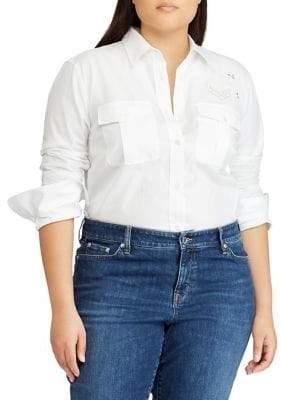 Lauren Ralph Lauren Plus Bullion-Patch Poplin Shirt