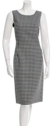 Oscar de la Renta Checkered Print Sleeveless Sheath Dress w/ Tags White Checkered Print Sleeveless Sheath Dress w/ Tags
