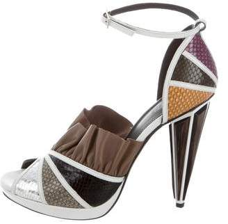Rodarte Embossed Leather Multicolor Sandals