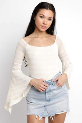 Neely Stripe Off Shoulder Knit Bell Sleeve Blouse