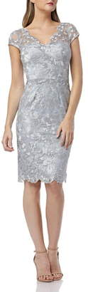 Carmen Marc Valvo Metallic Lace Cocktail Dress