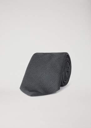 Emporio Armani Silk Tie With Optical Jacquard Pattern