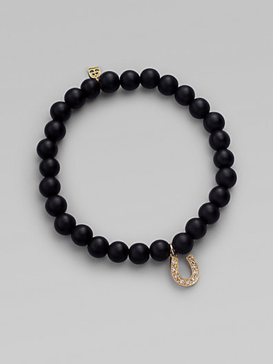 Sydney Evan Diamond, Black Onyx & 14K Yellow Gold Horseshoe Bracelet