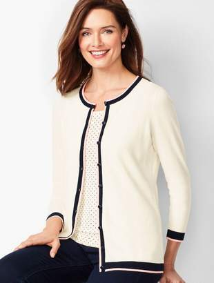 Talbots Charming Cardigan - Three-Quarter Sleeve - Tipped