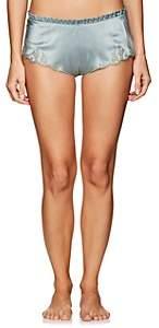 Carine Gilson Women's Lace-Trimmed Silk Shorts - Lt. Green