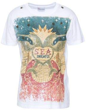 RED Valentino Studded Printed Cotton-jersey T-shirt