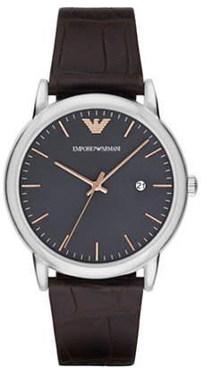 Emporio Armani Analog Luigi Two-Tone Leather Strap Watch