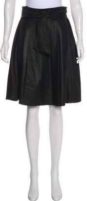Max Mara Weekend Pleated Leather Knee-Length Skirt