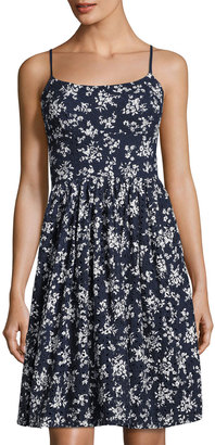 Maggy London Spring Floral-Print Eyelet Dress, Blue Pattern $119 thestylecure.com