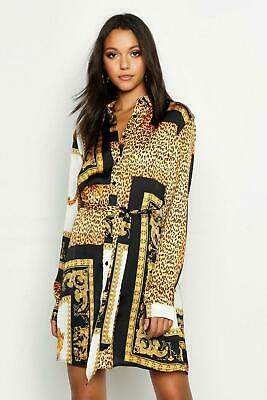 boohoo NEW Womens Tall Scarf Print Shirt Dress in Polyester