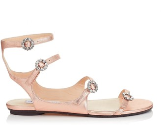 Jimmy Choo NAIA FLAT Tea Rose Metallic Nappa Leather Sandals with Swarovski Crystal Buckles