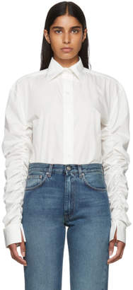 Totême Off-White Poplin Gathered Sleeves Blouse
