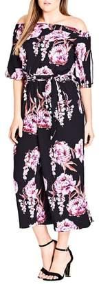 City Chic Cascade Floral Jumpsuit